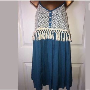 Entro peasant dress blue fringe size L